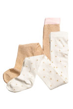 2-pack tights - Natural white/Gold - Kids | H&M CN 2