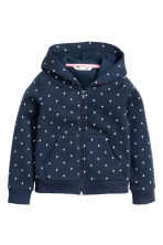Hooded jacket - Dark blue/Spotted - Kids | H&M CN 2