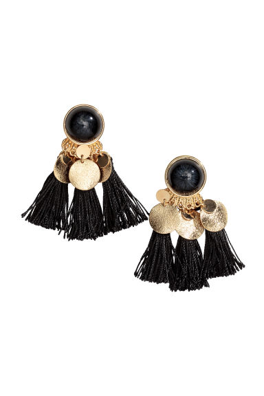 Earrings with tassels - Black - Ladies | H&M GB 1