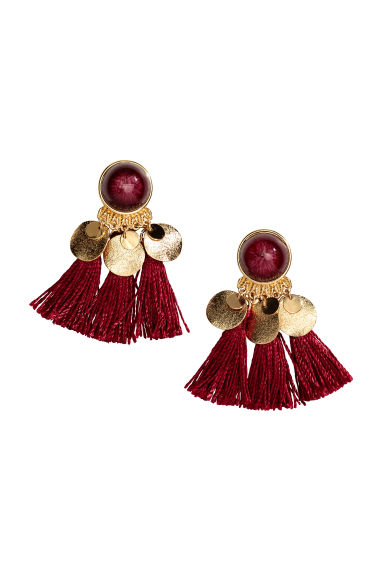 Earrings with tassels - Burgundy - Ladies | H&M GB 1