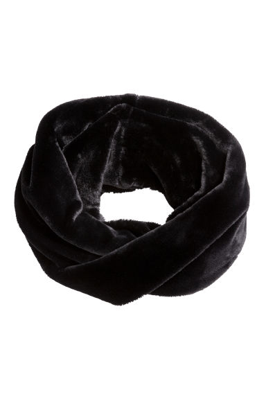 Faux fur tube scarf - Black - Ladies | H&M CN 1