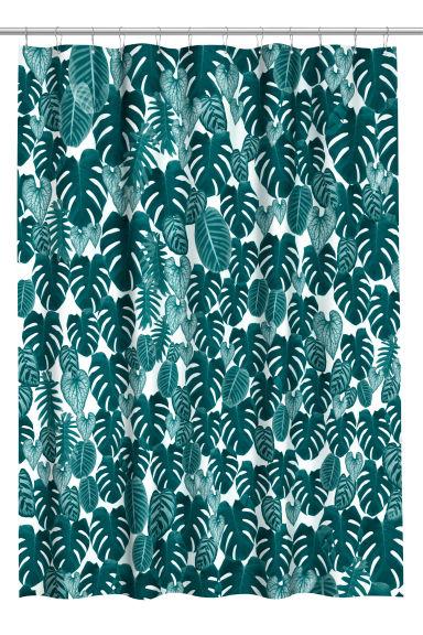 Dark green shower curtains - Printed Shower Curtain Dark Green Leaf H M