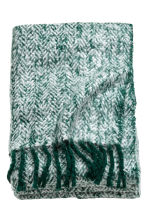 Herringbone-patterned blanket - Dark green -  | H&M CN 1