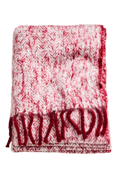 Herringbone-patterned blanket - Red - Home All | H&M CN 1
