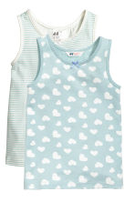 2-pack vest tops - Light turquoise/Hearts - Kids | H&M CN 1