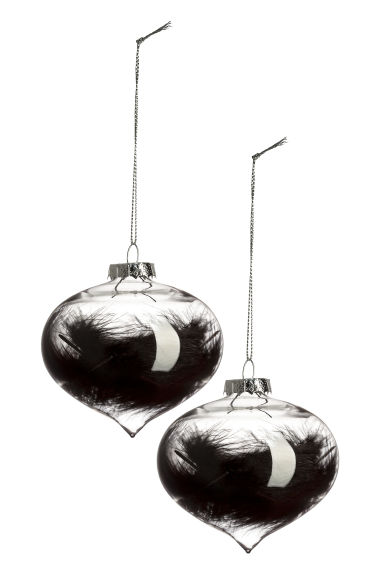Lot de 2 boules de Noël - Verre transparent/noir - Home All | H&M FR