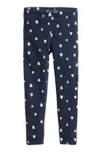 Jersey leggings - Dark blue/Hearts - Kids | H&M CN 2