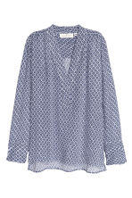Patterned blouse - White/Dark blue - Ladies | H&M CN 2
