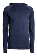 Seamless hooded running top - Dark blue marl - Men | H&M CN 2