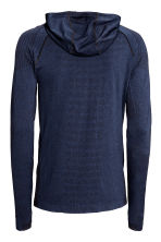 Seamless hooded running top - Dark blue marl - Men | H&M CN 3
