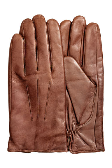 Leather gloves - Dark cognac brown - Men | H&M CN 1