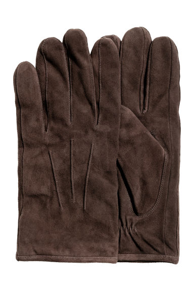 Suede gloves - Dark brown -  | H&M CN 1