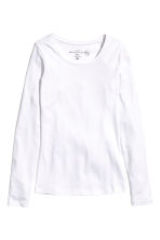 Long-sleeved jersey top - White - Ladies | H&M CN 3