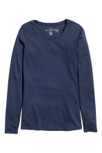 Long-sleeved jersey top - Dark blue - Ladies | H&M CN 2