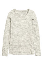 Long-sleeved jersey top - Grey marl - Ladies | H&M CN 2