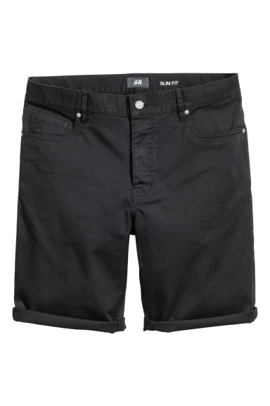 Twill shorts Slim fit - Black - Men | H&M CN 1