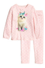 Jersey pyjamas - Light pink/Cat - Kids | H&M CN 1