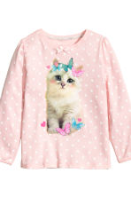 Jersey pyjamas - Light pink/Cat - Kids | H&M CN 3