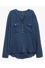 V-neck blouse - Dark blue - Ladies | H&M CN 2