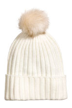 Pompom hat - White - Ladies | H&M CN 1