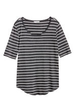 Jersey top - Dark grey/Striped - Ladies | H&M CA 2