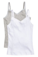 2-pack tops with lace - Grey marl - Kids | H&M CN 2