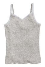2-pack tops with lace - Grey marl - Kids | H&M CN 3