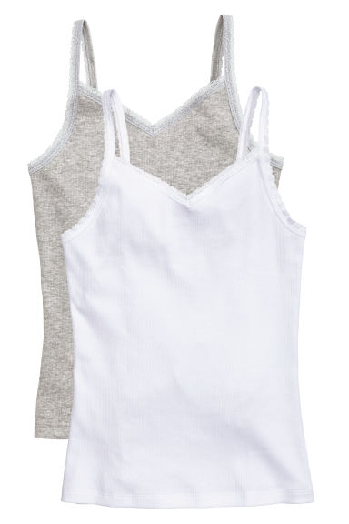 2-pack tops with lace - White -  | H&M