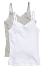 2-pack tops with lace - White -  | H&M CN 1