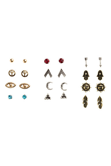 12 pairs stud earrings - Gold/Silver mix - Ladies | H&M CN 1