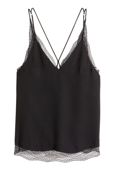 Double-layered lace top - Black - Ladies | H&M CN 1