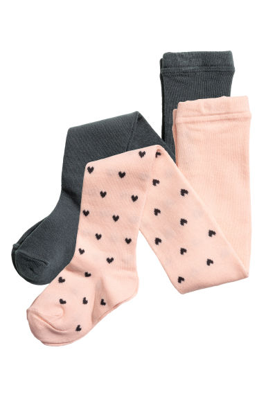 2-pack tights - Powder pink/Hearts - Kids | H&M CN 1