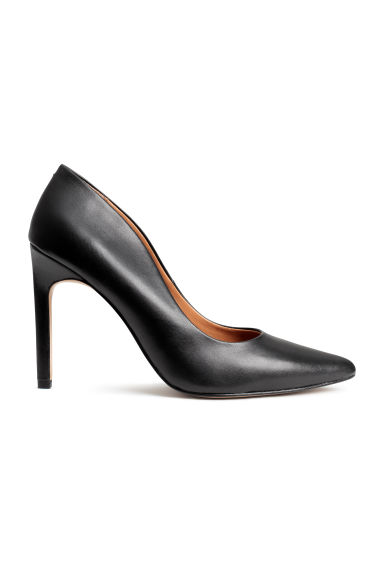 Leather court shoes - Black -  | H&M CN 1