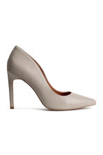 Leather court shoes - Light grey -  | H&M CN 2