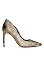 Leather court shoes - Gold -  | H&M CN 2