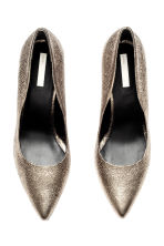 Leather court shoes - Gold -  | H&M CN 3