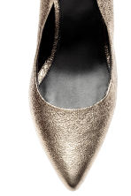Leather court shoes - Gold -  | H&M CN 4
