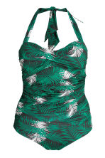 H&M+ Halterneck swimsuit - Black/Leaf - Ladies | H&M CN 2