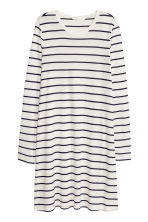 Long-sleeved jersey dress - White/Striped - Ladies | H&M CN 2