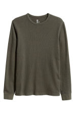 Waffled top - Dark khaki green - Men | H&M CN 2