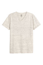 V-neck T-shirt Slim fit - Light beige marl - Men | H&M CN 2