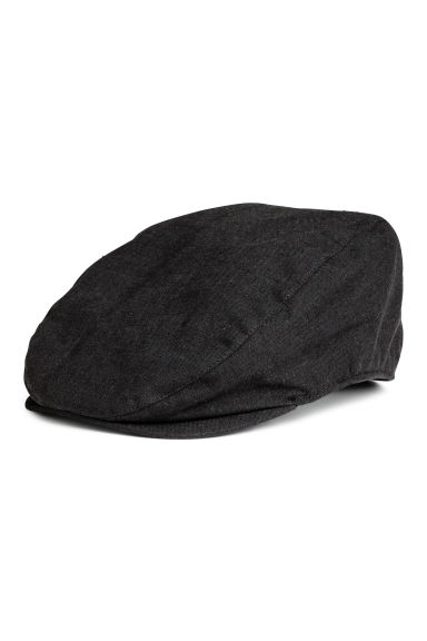 Linen-blend flat cap - Black - Men | H&M CN 1