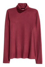 Ribbed polo-neck top - Burgundy - Ladies | H&M CN 2