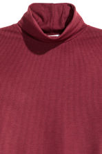 Ribbed polo-neck top - Burgundy - Ladies | H&M CN 3