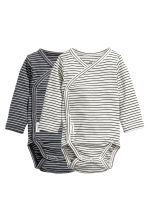 2-pack long-sleeved bodysuits - Dark grey/Striped - Kids | H&M CN 1
