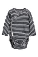 2-pack long-sleeved bodysuits - Dark grey/Striped - Kids | H&M CN 2