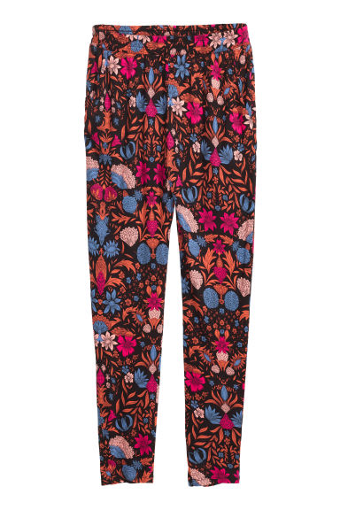 Jersey trousers Loose fit - Black/Floral - Ladies | H&M CN 1