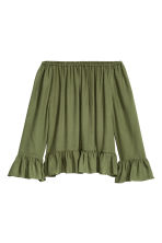 Off-the-shoulder blouse - Khaki green - Ladies | H&M GB 2