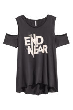 Cold shoulder T-shirt - Black - Ladies | H&M CN 2