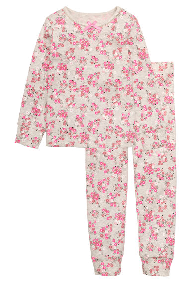 Jersey pyjamas - Light beige/Floral - Kids | H&M CN 1